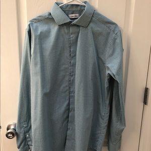 Green Slim Checked Dress Shirt 16.5 34/35